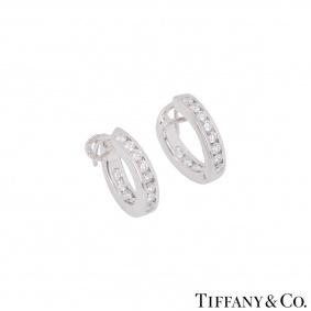 Tiffany & Co. Platinum Diamond Hoop Earrings